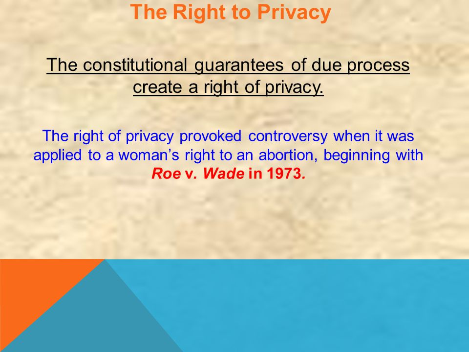 The Right to Privacy The constitutional guarantees of due process create a right of privacy.