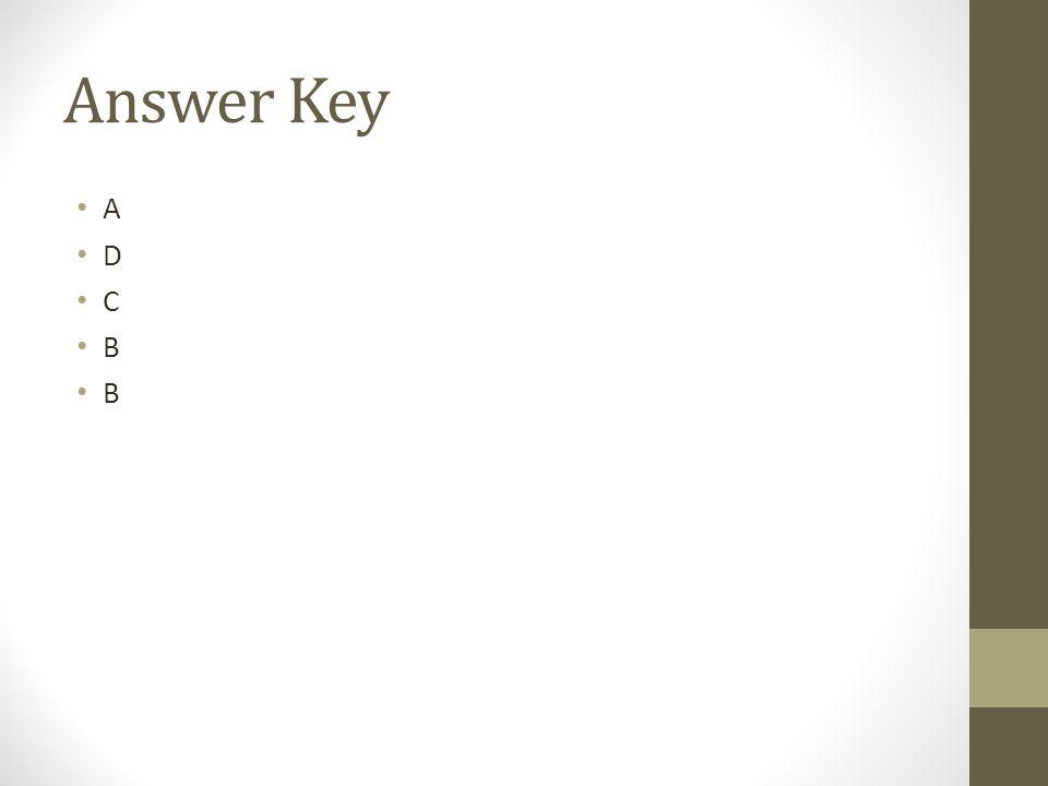 Answer Key A D C B
