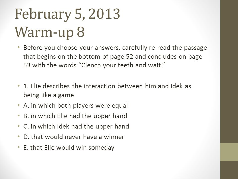 February 5, 2013 Warm-up 8