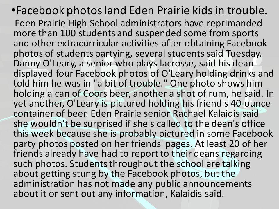 Facebook photos land Eden Prairie kids in trouble.
