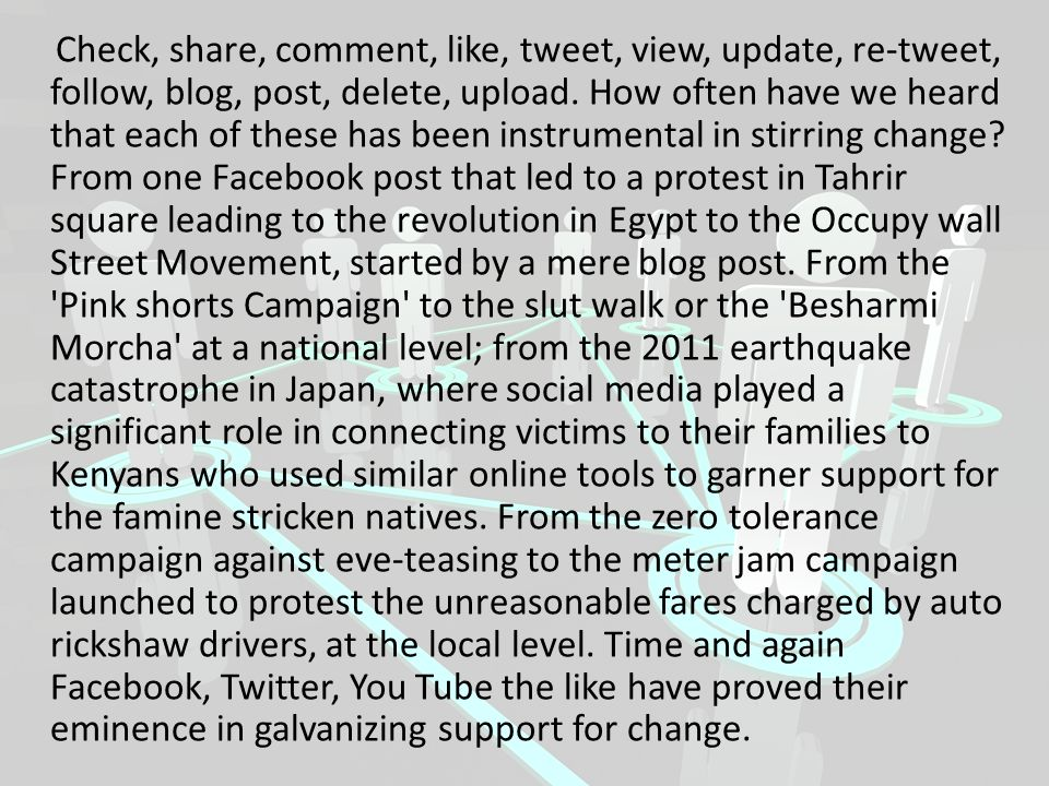 Check, share, comment, like, tweet, view, update, re-tweet, follow, blog, post, delete, upload.