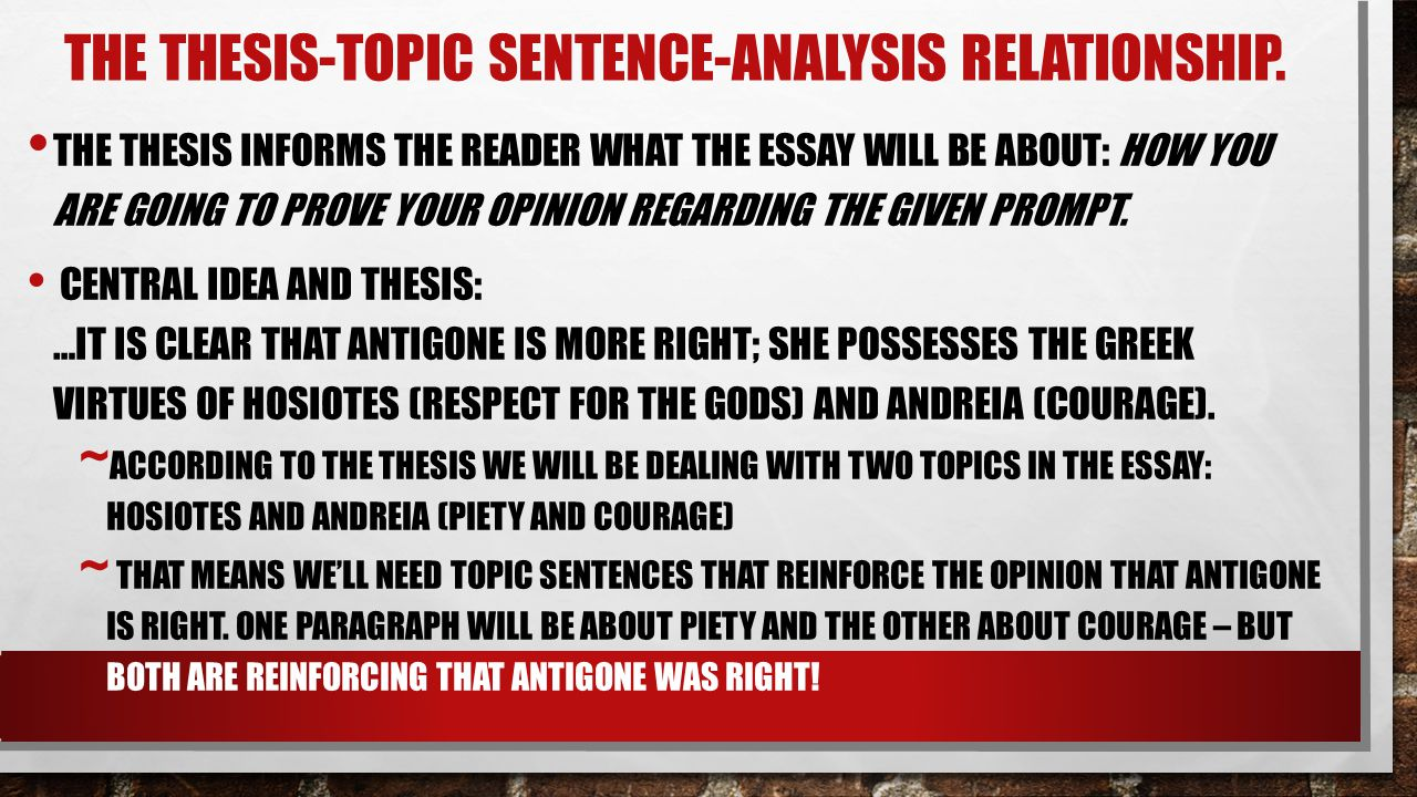 The Thesis-Topic Sentence-analysis Relationship.