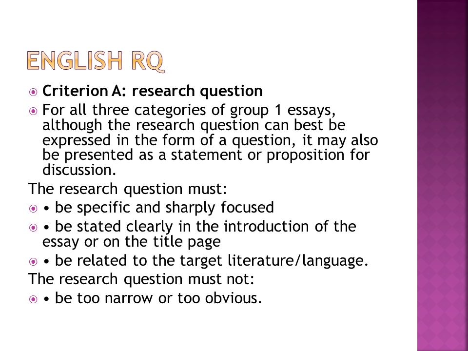 English RQ Criterion A: research question