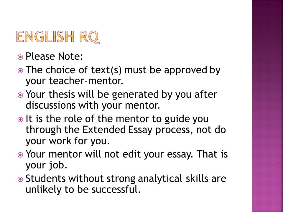 English RQ Please Note: