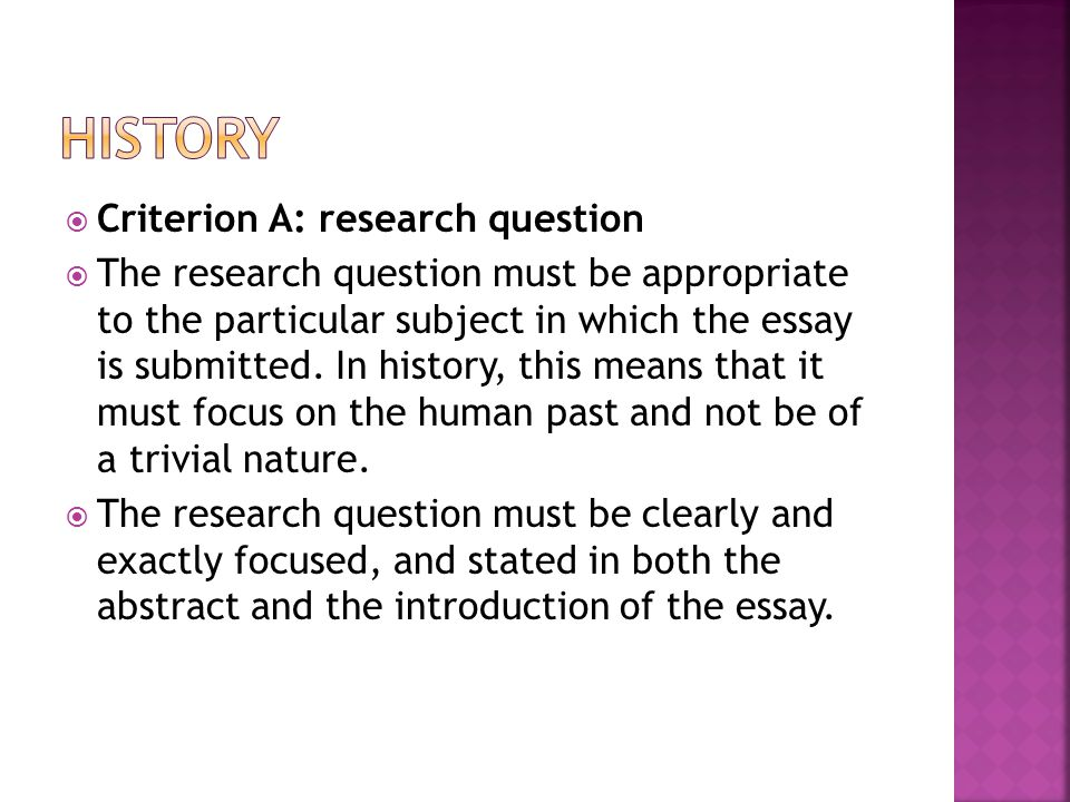 history Criterion A: research question