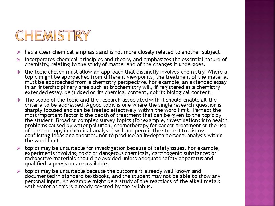 CHEMISTRY has a clear chemical emphasis and is not more closely related to another subject.