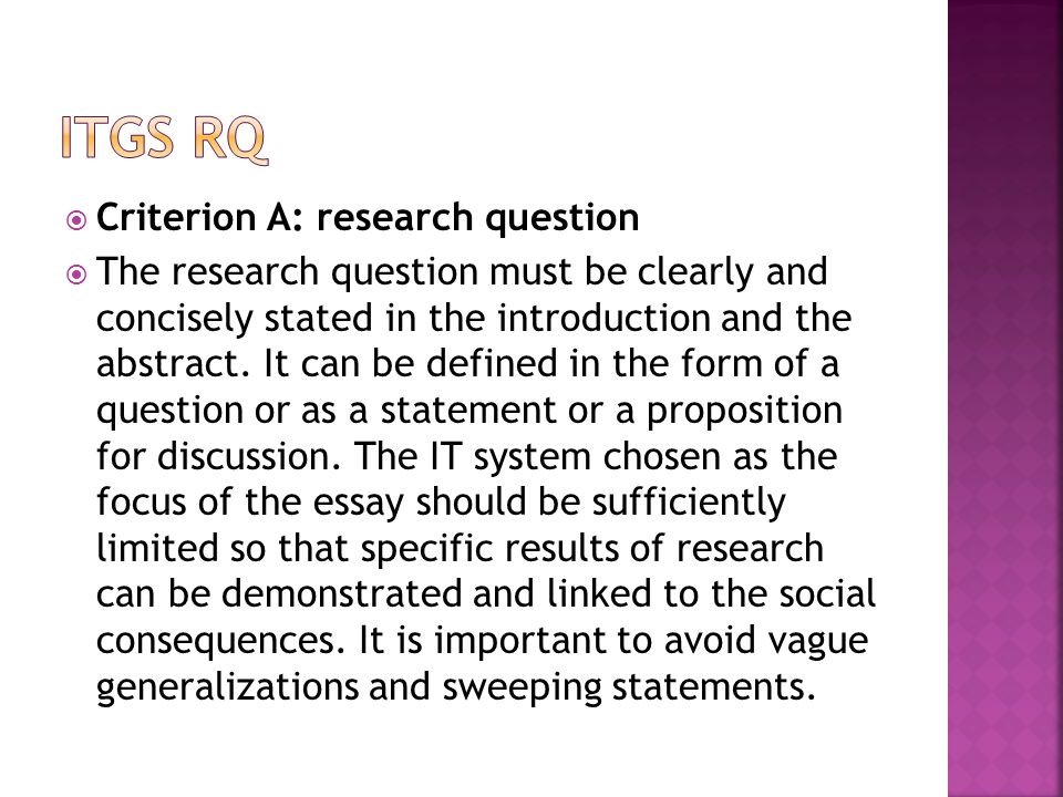 ITGS RQ Criterion A: research question