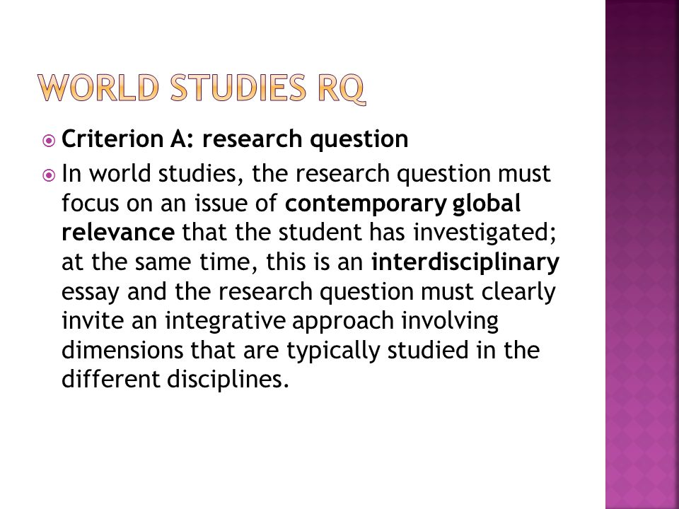 World studies RQ Criterion A: research question