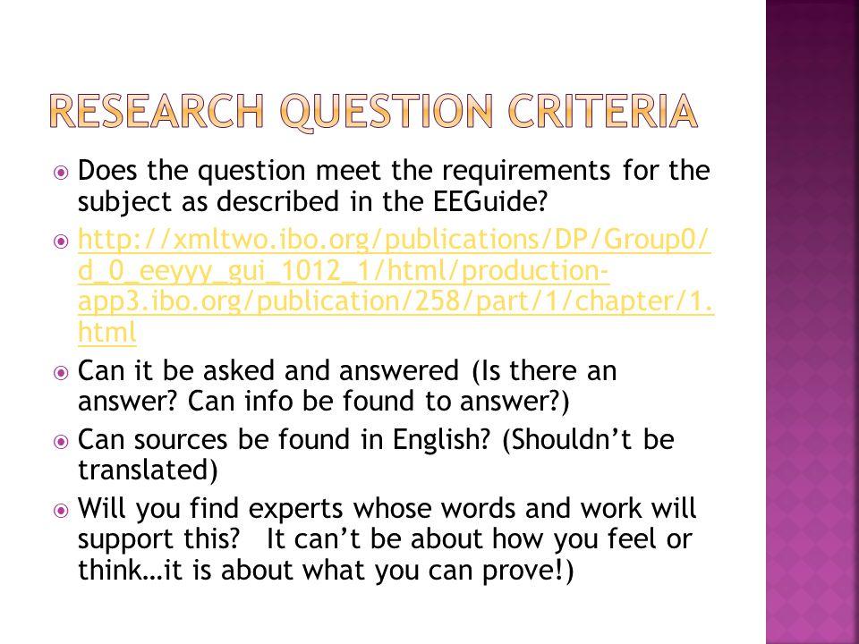Research question Criteria