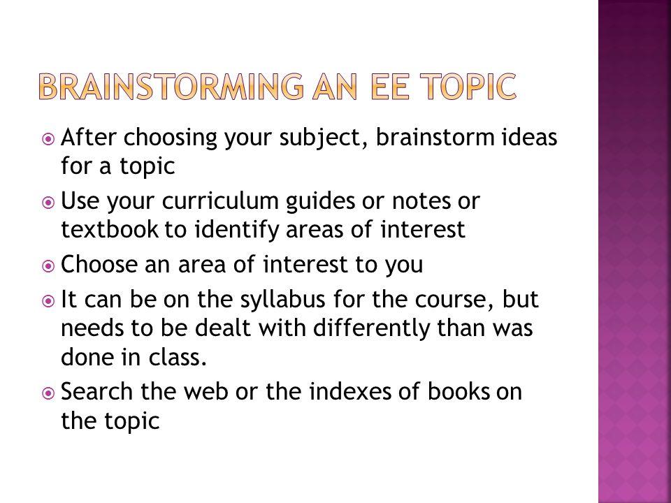 Brainstorming an ee topic