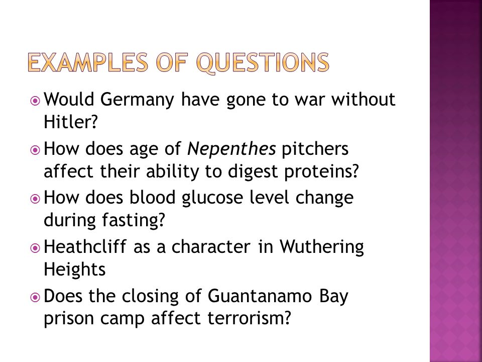 Examples of questions Would Germany have gone to war without Hitler