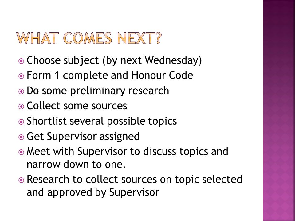 What comes next Choose subject (by next Wednesday)