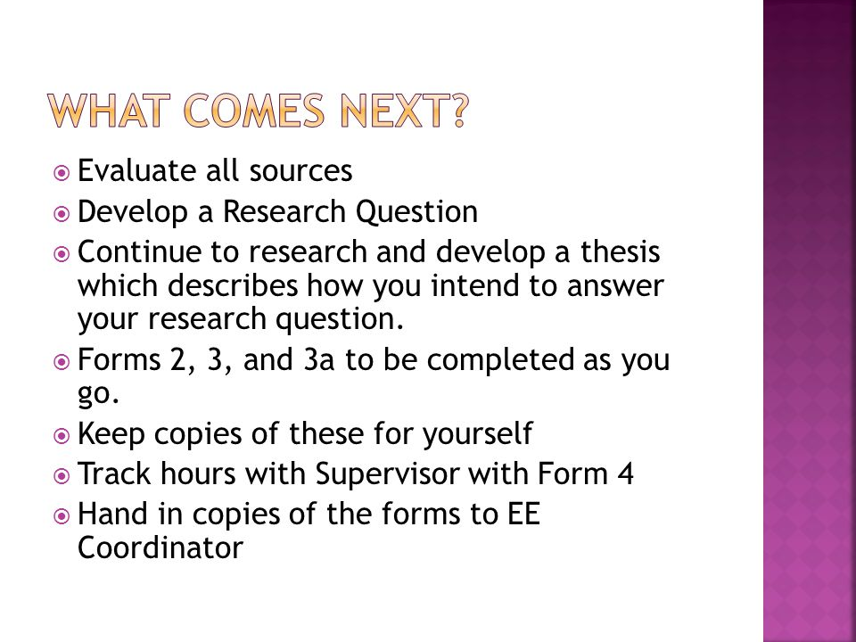 What comes next Evaluate all sources Develop a Research Question