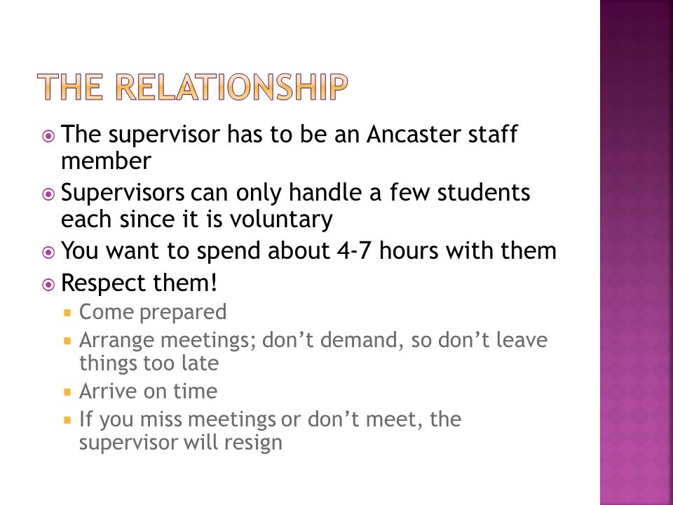 The relationship The supervisor has to be an Ancaster staff member