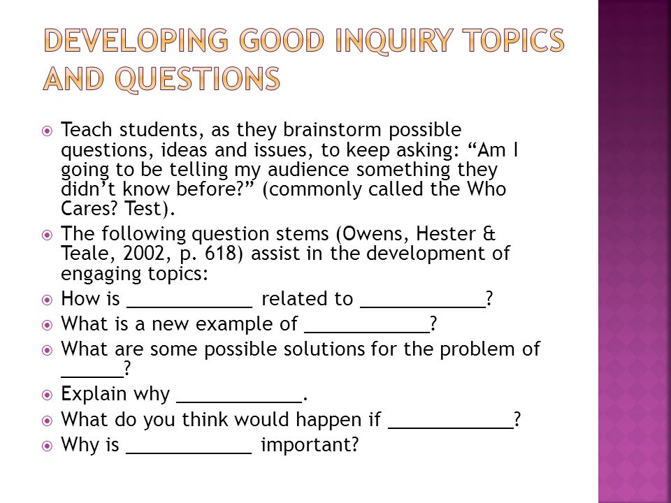 Developing Good Inquiry Topics and Questions