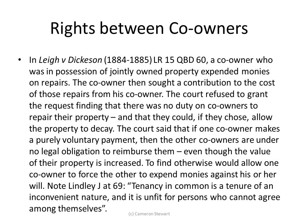 Rights between Co-owners