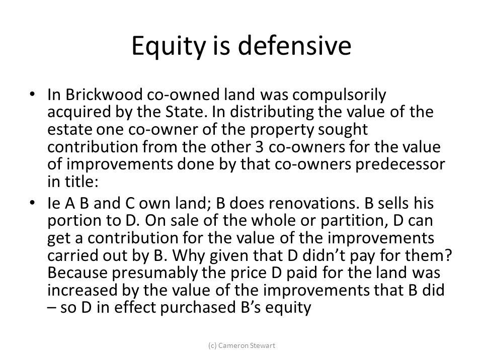 Equity is defensive