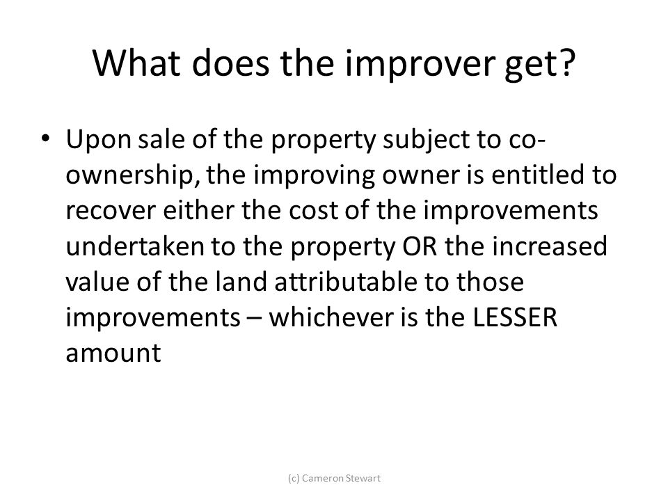 What does the improver get