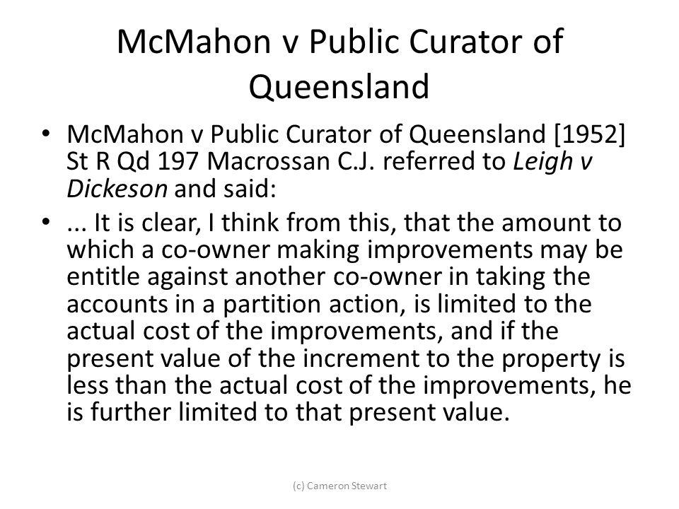 McMahon v Public Curator of Queensland