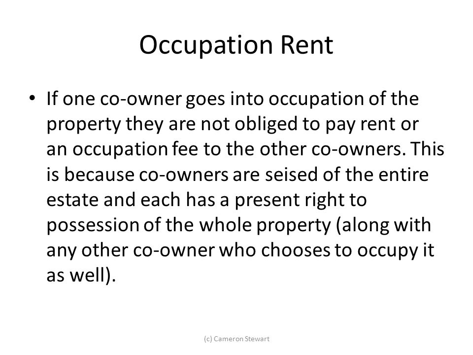 Occupation Rent