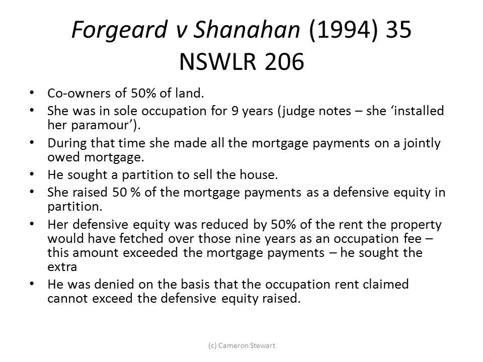 Forgeard v Shanahan (1994) 35 NSWLR 206