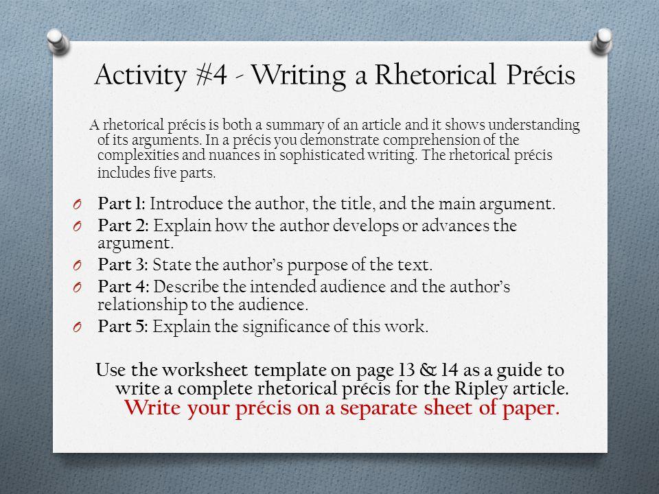 Activity #4 - Writing a Rhetorical Précis