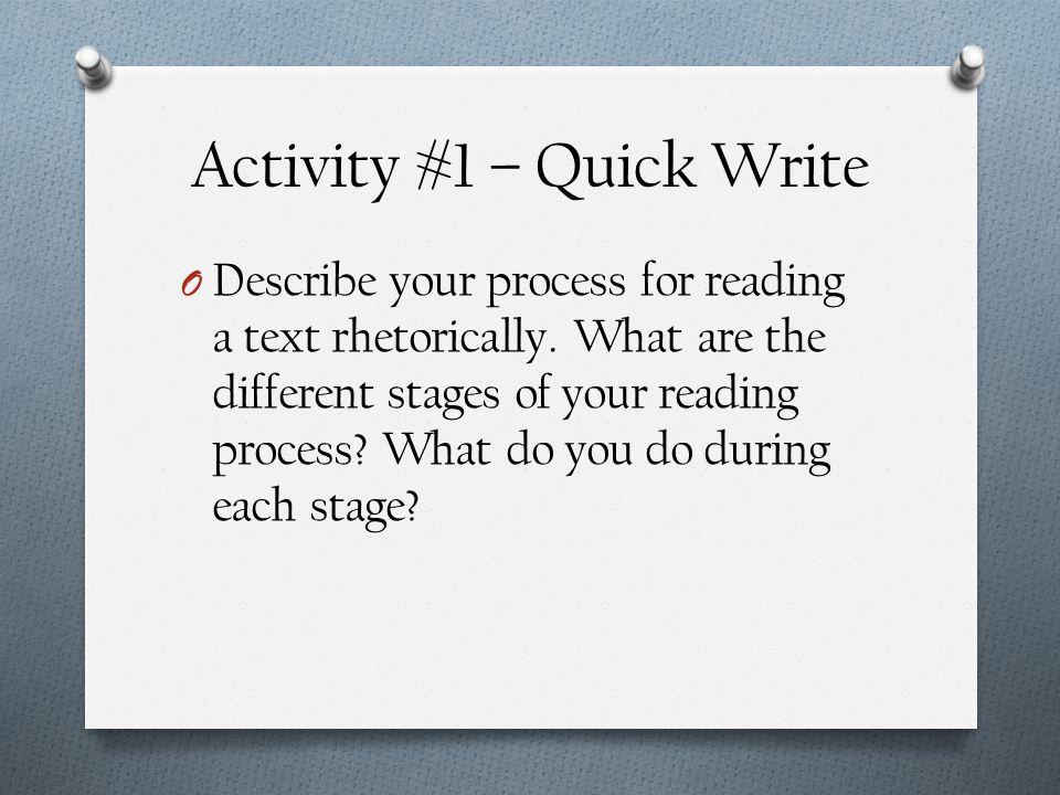Activity #1 – Quick Write
