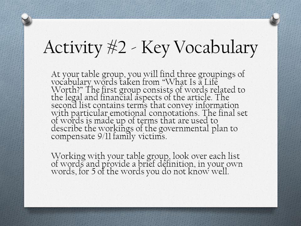 Activity #2 - Key Vocabulary