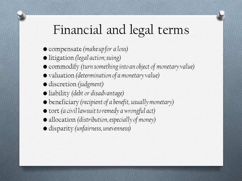Financial and legal terms