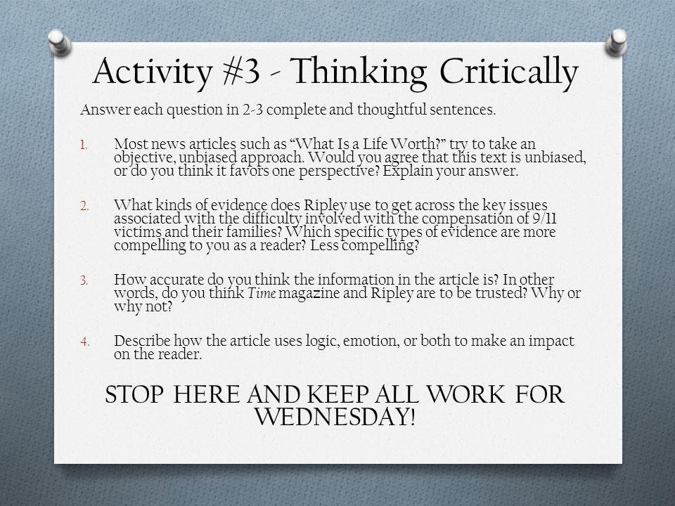Activity #3 - Thinking Critically