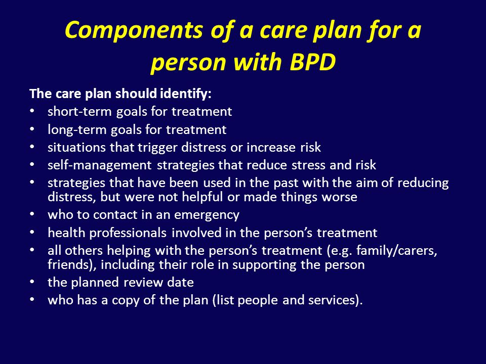Components of a care plan for a person with BPD