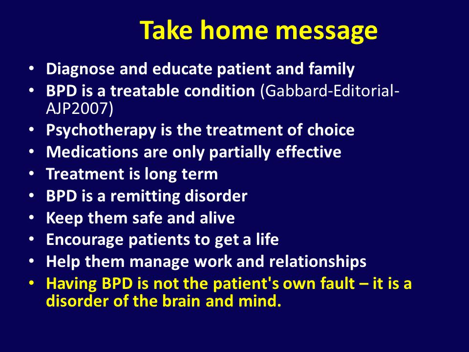 Take home message Diagnose and educate patient and family