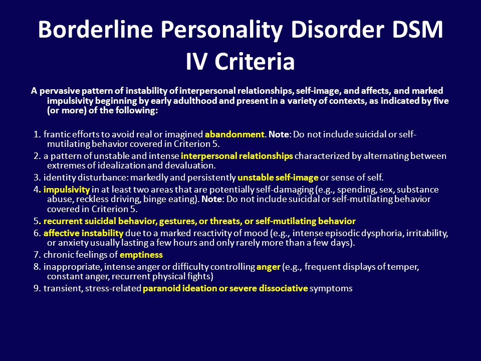 borderline personality disorder Compare risks and benefits of common medications used for borderline personality disorder find the most popular drugs, view ratings, user reviews, and more.