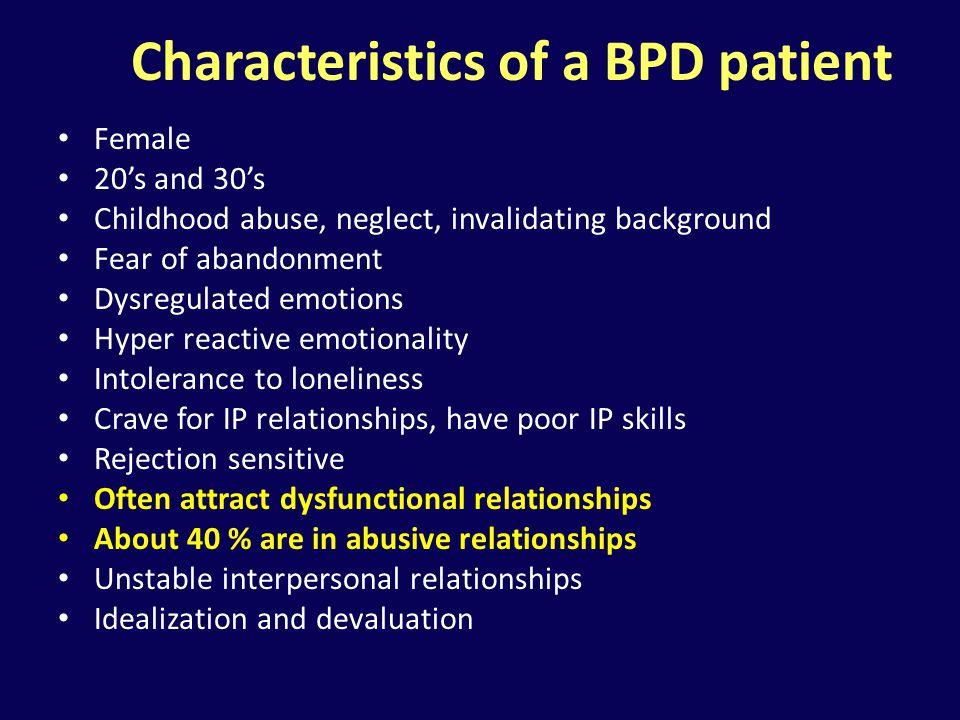 Characteristics of a BPD patient