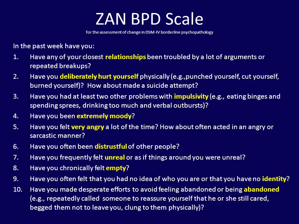ZAN BPD Scale for the assessment of change in DSM-IV borderline psychopathology