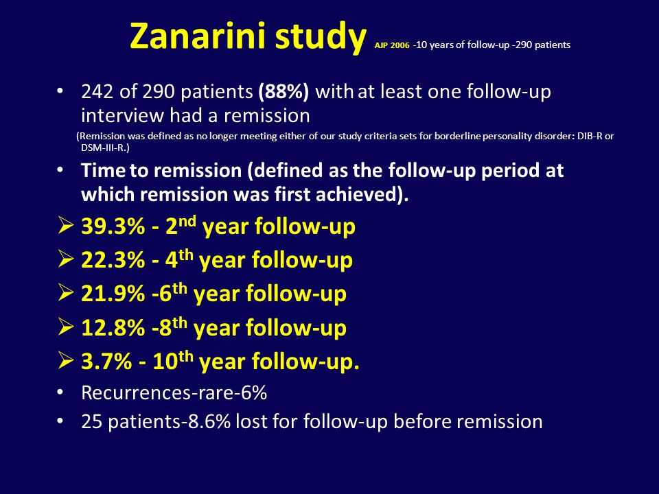 Zanarini study AJP 2006 -10 years of follow-up -290 patients