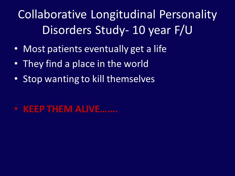 Collaborative Longitudinal Personality Disorders Study- 10 year F/U