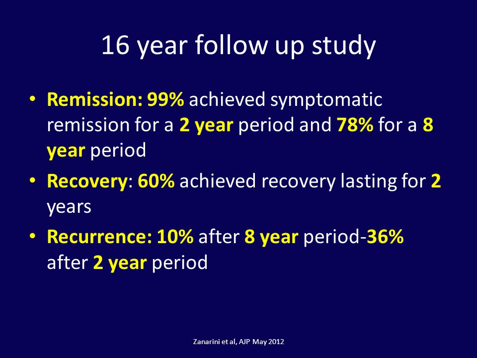 16 year follow up study Remission: 99% achieved symptomatic remission for a 2 year period and 78% for a 8 year period.