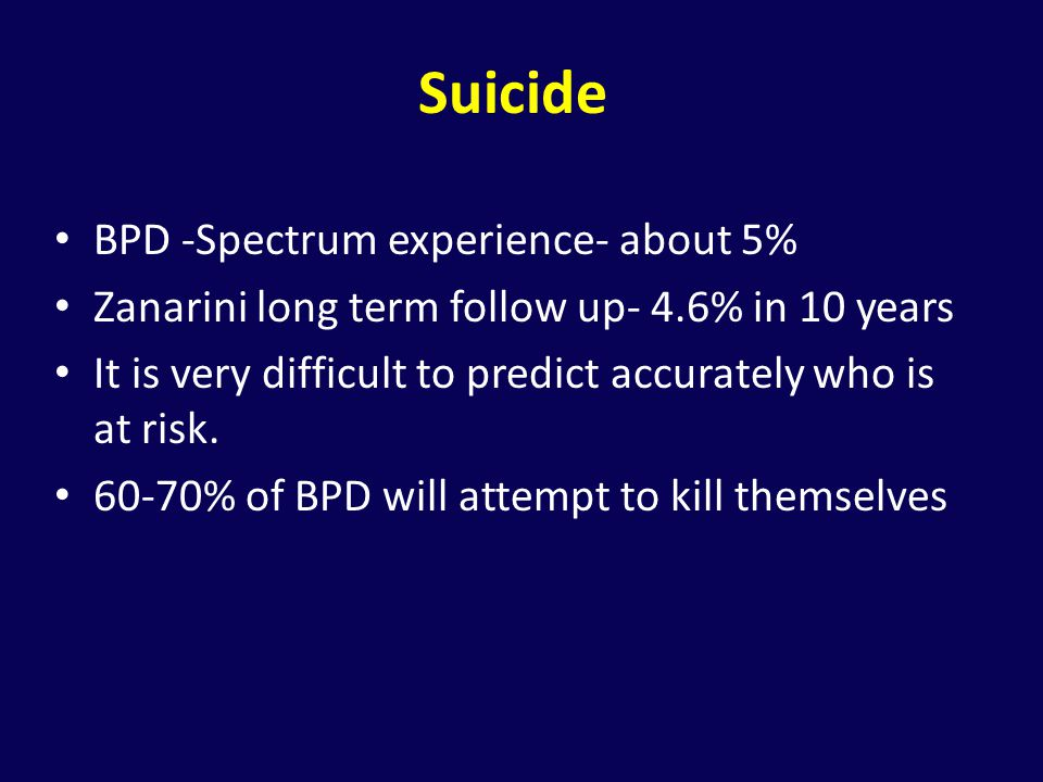Suicide BPD -Spectrum experience- about 5%