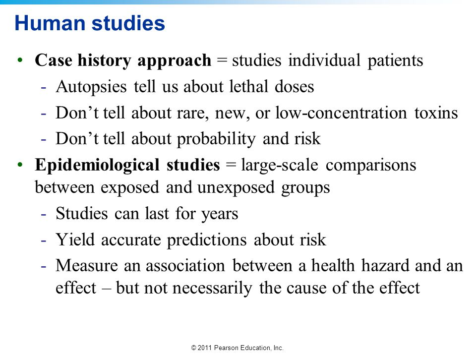 Human studies Case history approach = studies individual patients