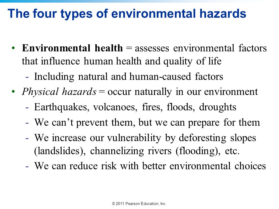 The four types of environmental hazards