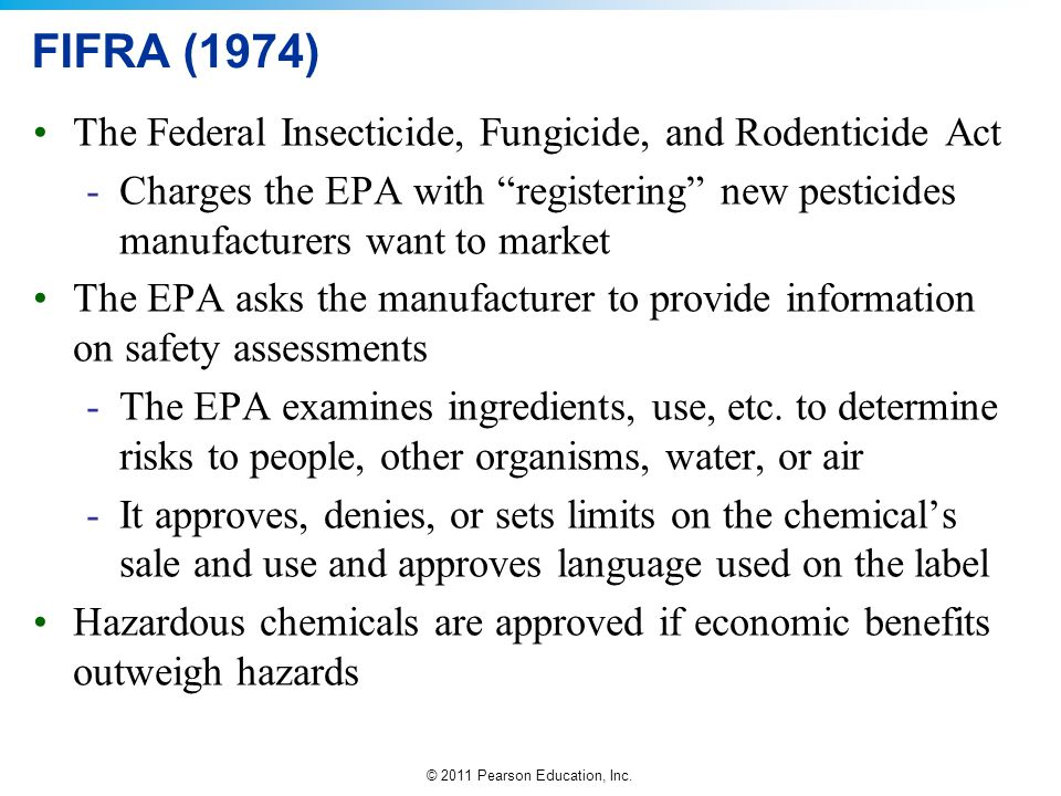 FIFRA (1974) The Federal Insecticide, Fungicide, and Rodenticide Act