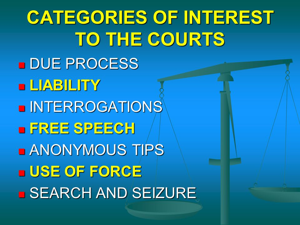 CATEGORIES OF INTEREST TO THE COURTS