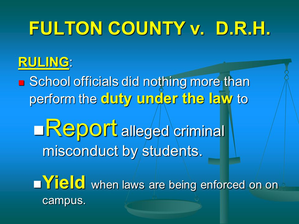 Report alleged criminal misconduct by students.