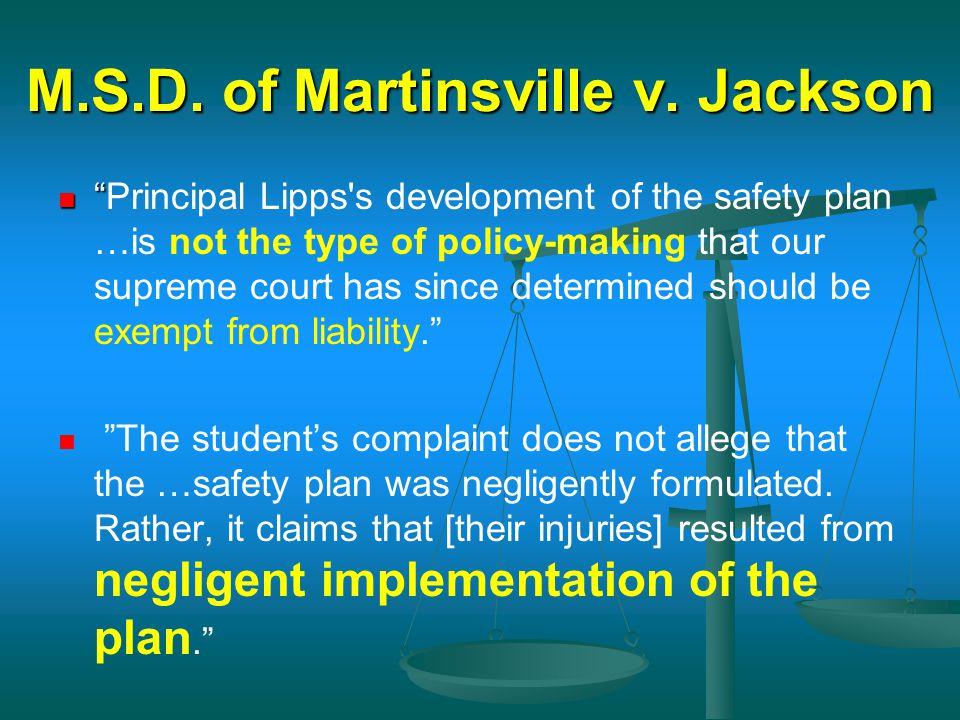 M.S.D. of Martinsville v. Jackson