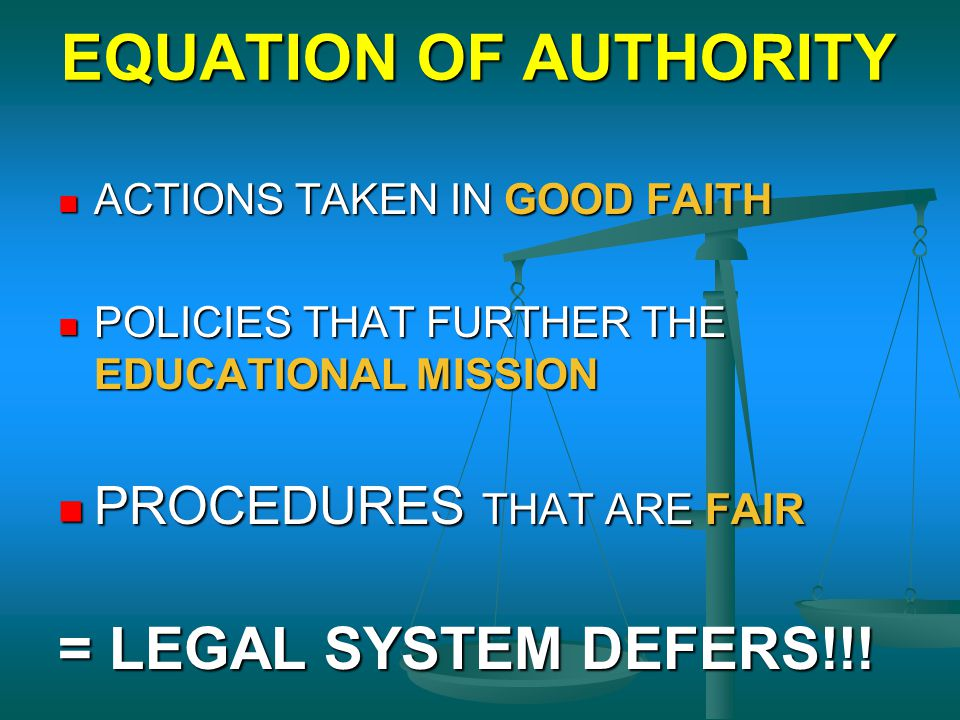 EQUATION OF AUTHORITY = LEGAL SYSTEM DEFERS!!!