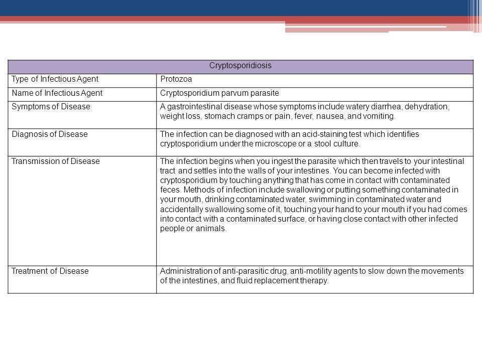 Cryptosporidiosis Type of Infectious Agent. Protozoa. Name of Infectious Agent. Cryptosporidium parvum parasite.