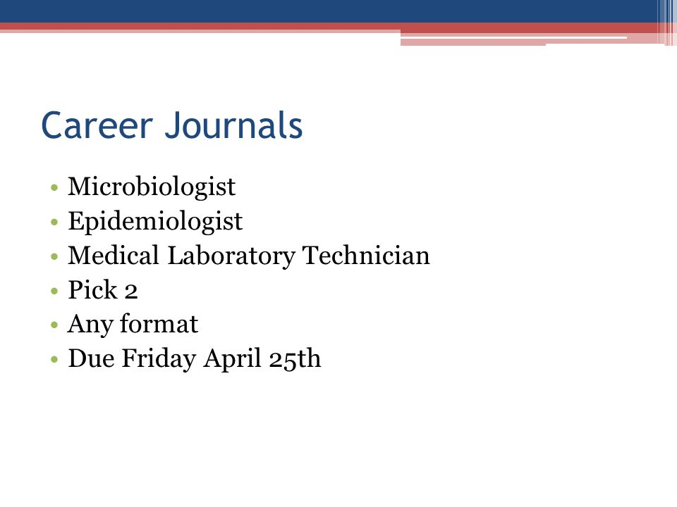 Career Journals Microbiologist Epidemiologist
