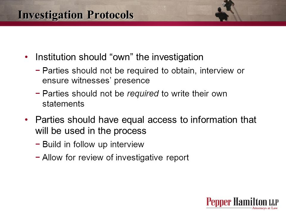 Investigation Protocols