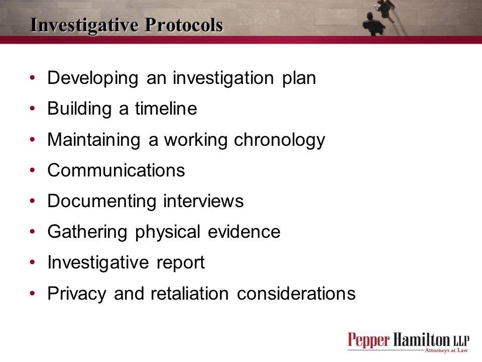 Investigative Protocols